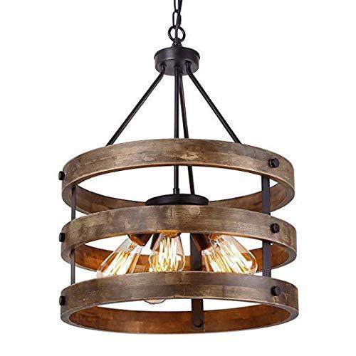 BDHBB Kücheninsel Holz Kronleuchter Licht mit Holzschirm, Vintage Rustikale Kronleuchter Metall Pendelleuchte Industrielle Hängelampe Esszimmer 5-Lichter, Schwarz - 5 Licht Rustikale Kronleuchter