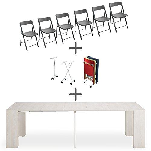 Set 6 sedie pieghevoli + carrello + consolle allungabile space bianco shabby, 90 x 45 cm, che diventa un solido tavolo allungabile fino a 3 mt. (12 posti) - qualita' made in italy (sedie grafite)