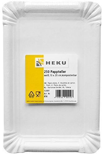 HEKU 30414: 250 Pappteller, weiß, eckig, 13x20cm, 100% Frischfaser ohne Beschichtung 13 Teller