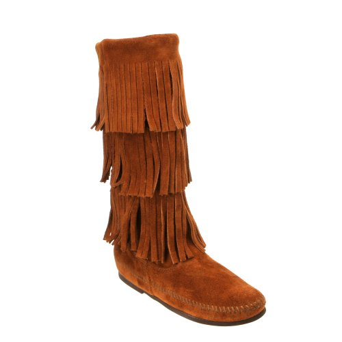 Minnetonka Calf Hi 3 Layer Black Suede - femmes cognac
