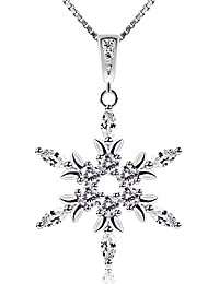 B.Catcher Silver Snowflake Necklace, 925 Sterling Silver Cubic Zirconia Pendant Necklaces