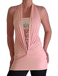 Bella Slinky Stretch Glitzer Nackenhalter Fashion Top