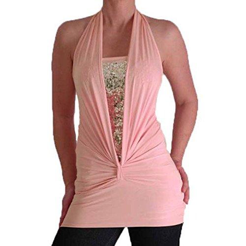 Bella Slinky Stretch Glitzer Nackenhalter Fashion Top Lippenstift Pink, Größe: Medium/Large
