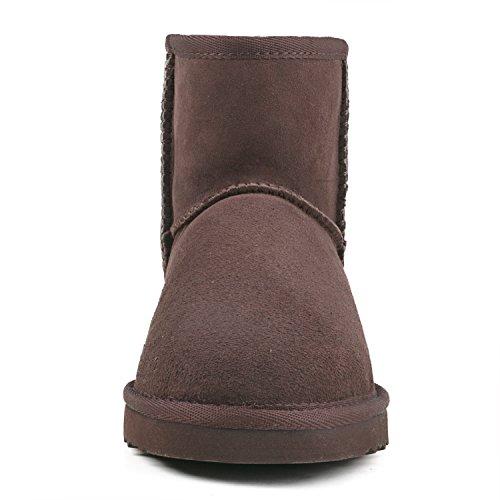 ShenDuo Damen Lammfell Stiefel Kurz Schlupfstiefel Winterschuhe Klassisch Boots DV5854 Schokolade