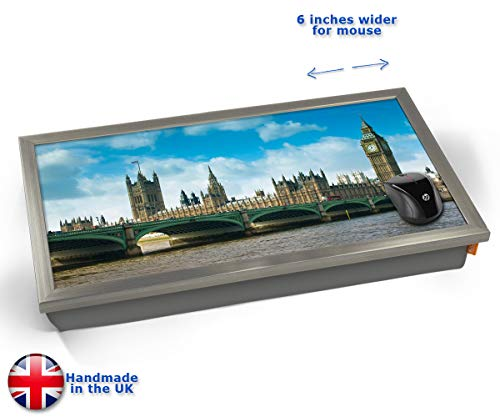 London Westminster Bridge Big Ben Iconic Cushioned Bean Bag Laptop Lap Tray Desk - Built-in EMF Shield (Electro Magnetic Field) Kissen Tablett Knietablett Kissentablett - Chrome Effekt Rahmen