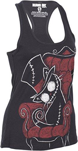 Akumu Ink CURIOSITY KILLS Zombie Cat Creepy TANKTOP Top Gothic Schwarz mit buntem Motiv