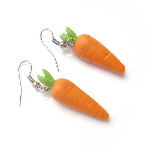 Idin Handgemachte Fimo-Ohrringe - Karotten aus Fimo (ca. 4.5 cm)