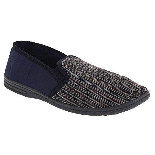 Zedzzz - Zapatillas de estar por casa con fuelle y tejido Herringbone Modelo Charles hombre caballero...