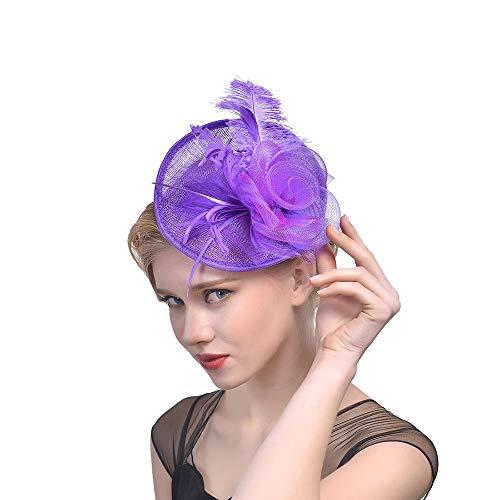 Likecrazy Damen Fascinator Hüte mit Feder Mädchen und Frauen 20er 50er Jahre Hochzeit Kopfschmuck Haarschmuck Cocktail Tea Party Kirche Accessoire Netz Mütze ... (Mädchen Lila Kostüm Boa)