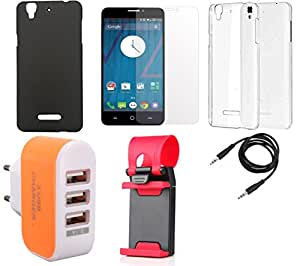 NIROSHA Tempered Glass Screen Guard Cover Case Mobile Holder Charger Combo for YU Yureka Combo