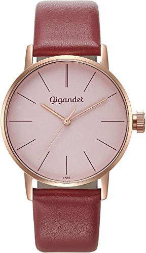 Gigandet Women's Quartz Wrist Watch Minimalism Analogue Leather Strap Rose Gold Red G43-016