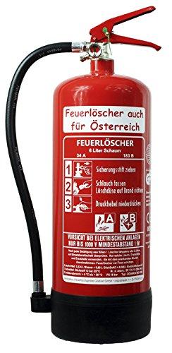 NEU 6 L Feuerlöscher auch für Österreich Schaum AB BIO DIN EN 3 GS Haus Hof Wandhalter Manometer 34 A, 183 B, C = 10 LE