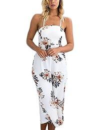 8639a0cd6db27 Mono Largo Mujer Monos De Verano Playa Elegantes Flores Impresión Vintage  Hippies Niñas Ropa Sin Mangas