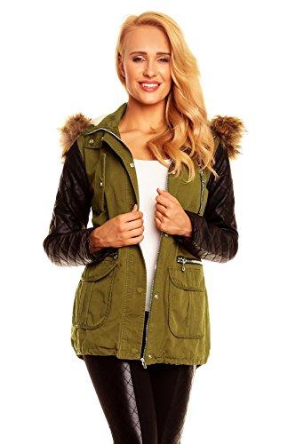 Winter Damen Jacke Mantel mit Fell Blogger Parka Lederärmel Kapuze S M L XL X576 (L, Khaki-Schwarz)