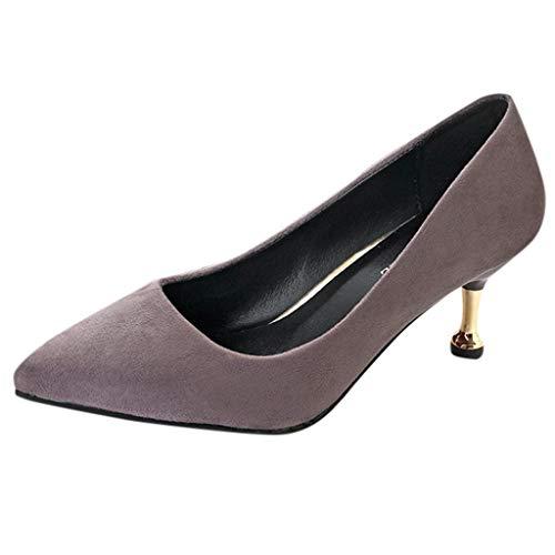 NMERWT Damen Pumps Mode Hohem Absatz und Einzelnem Schuhspitzenkopf Frauen Middle Heels Flock Single Schuh Spitzen Kopf Thin Heels Schuhe (Sperrys Für Frauen Schwarz Und Weiß)