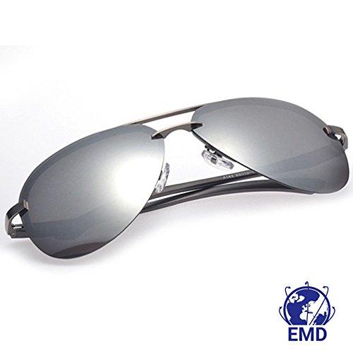 Sonnenbrille im Pilotenstil - polarisiert – verspiegelt –UV 400–sehr leicht aus alu-magnesium-Legierung –Flex-Scharnier – Herren, Damen – empfohlen für Automobilindustrie, Luftfahrt, Motorrad, Fischerei und den Sport, silber