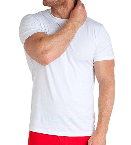 Image of STÓR Men's T-Shirt Designer Bamboo Organic Cotton Fabric Crew Neck Fitted Undershirt Everyday Basics Vest (Medium, White)