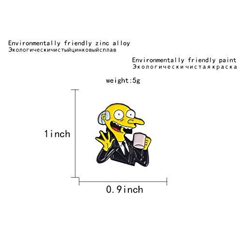 Kostüm Burns Mr - JTXZD Brosche Mr. Burns Emaille Pin Kaffee Zeit Meme Abzeichen Brosche Anstecknadel für Denim Jeans Hemd Tasche Cartoon TV für Fans Freunde
