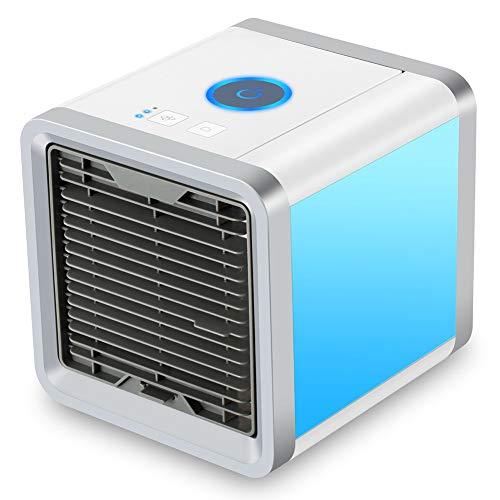 Mini Luftkühler, 3 in 1 Klimaanlage Luftkühler, Mobile Klimageräte Air Cooler, Luftbefeuchter und Luftreiniger, Tragbare Klimaanlage Luftkühler für Büro, Garage, 3 Stufen und 7 Farben LED Nachtlicht