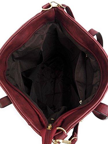 CONTRO VENTO - Borsa Gloria 125, Borsa da donna, Borsa a spalla e a mano con tracolla Bordeaux scuro