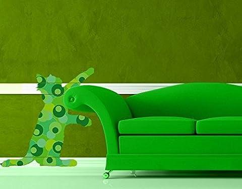 Sticker mural No.IS5 Green Retro Cat, tatouage mural, tatouages muraux, sticker mural