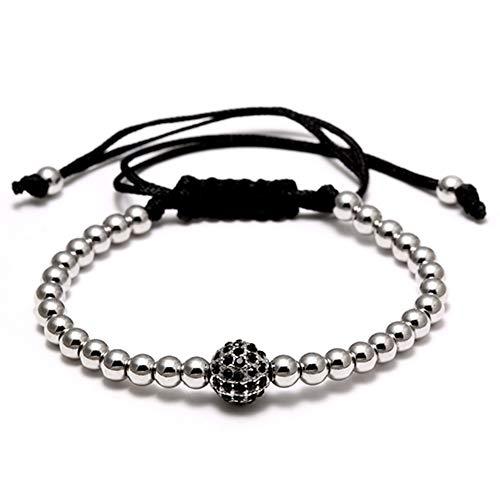Imagen de tiantxs granos hechos a mano bola trenzada macrame charm wrap cord pulsera con cuentas brazaletes joyería de cuerda ajustable para hombres