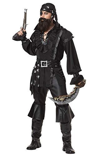Kostüm Piraten Kopftuch Mit - Generique - Piraten-Kostüm mit Kopftuch für Herren schwarz-Weiss M (40/42)