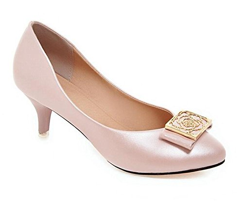 Solide Runde Zehe Plattform (DamenschuheWomen 's Court Schuhe Dünn mit Low - Heeled Shallow Mund spitze Zehe Metall Solide Schuhe , pink , 38)