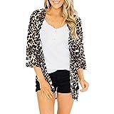 TTLOVE_Damen Florale Kimono Cardigan - Tops Cardigan Bluse Shawl Sommer Beachwear Cover up Leichte Strand Jacke Work Office Blazer mit Leopardenmuster Mantel (Braun,XL)
