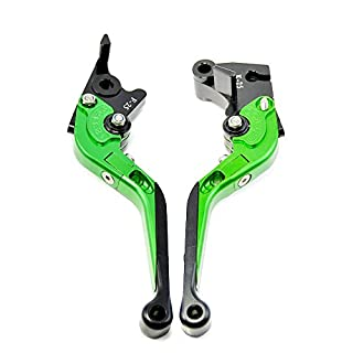 100% Brand New Adjustable Folding Extendable Brake Clutch Lever Fit For Kawasaki ER-6N/F 2009-2015 NINJA 650R/ER-6F 2009-2016 VERSYS (650cc) 2009-2014 NINJA 400R 2011 (Green)