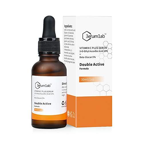Vitamin C Serum für Gesicht und Haut, einzigartige doppelte Wirkstoffe aus 10% Vitamin C und 5% Beta-Glucan, Falten reduzieren, feine Linien, Pigment und dunkler Kreis, 2019 NEUE FORMEL! MEHRWEG (C)