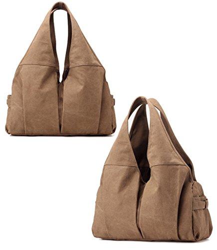 Supa Moden Damen Canvas Schultertasche Hobo Taschen Handtasche Braun