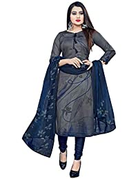 Hanoba Grey Leon Synthetic Printed Unstitched Dress Material For Womans And Girls