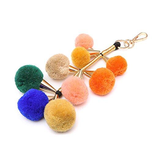 Bunte Pom Pom Schlüsselanhänger Wolle Fell Ball Schlüsselanhänger Charme flauschige Fell Keychain Bälle, Mode-Accessoires für Frauen Handtasche/Tasche / Auto -