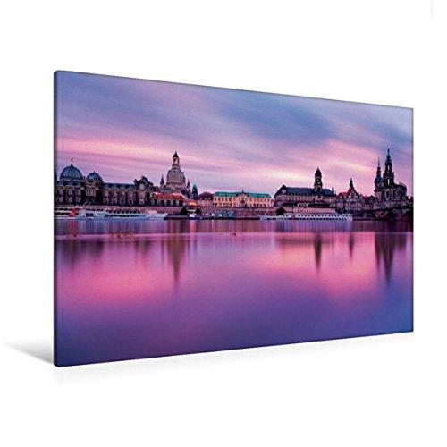 Calvendo Premium Textil-Leinwand 120 cm x 80 cm Quer, Brühlsche Terrasse | Wandbild, Bild auf...