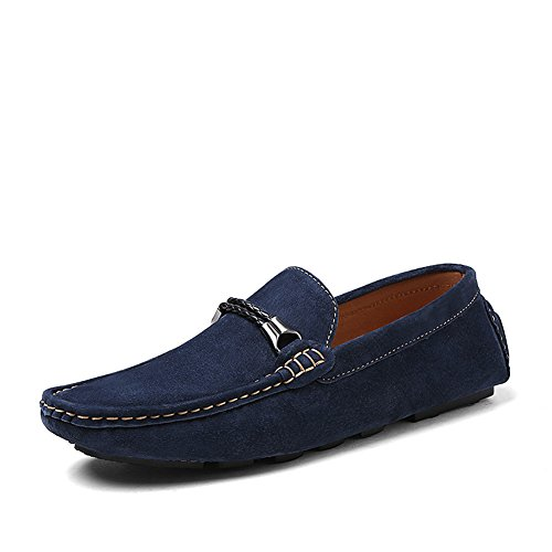 Shenn Herren Slip-on-Mokassin aus Wildleder Loafer Schuhe Marine