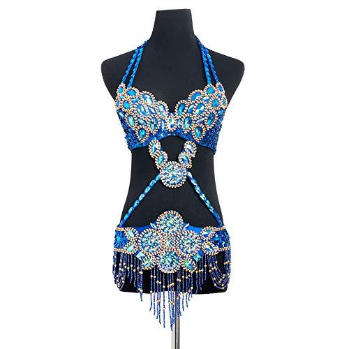 Kostüm Sexy Zigeuner - ROYAL SMEELA Bauchtanz BH Gürtel Set Damen Tanzkostüm für Frauen Sexy glänzender silberner Flamenco tribal Bauchtanz hängender Ansatz Halter BH Hüftgurt gürtel Anzug
