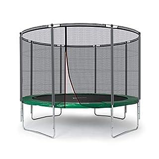 Ampel 24 Outdoor Trampolin 305 cm grün komplett mit außenliegendem Netz, Belastbarkeit 150 kg, Sicherheitsnetz mit Stabilitätsring und 8 gepolsterten Stangen