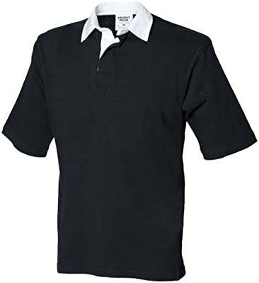 Front Row - Polo de manga corta liso con el cuello en blanco para hombre/Caballero Modelo Sports Rugby