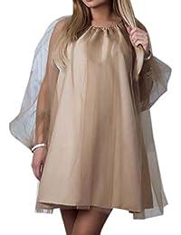 Smalltile Sommer Damen Minikleid Mode Unique Tüll Spleißen Kleid  Cocktailkleid Partykleider Freizeit Rundhals Laternenhülse Kleider  Blusenkleider 21f5910f3c