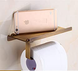 Generic High-end Roll Paper Tissue Holder Brass Rack Mobile Phone Rack Bathroom Toilet Paper Wall Mount Red