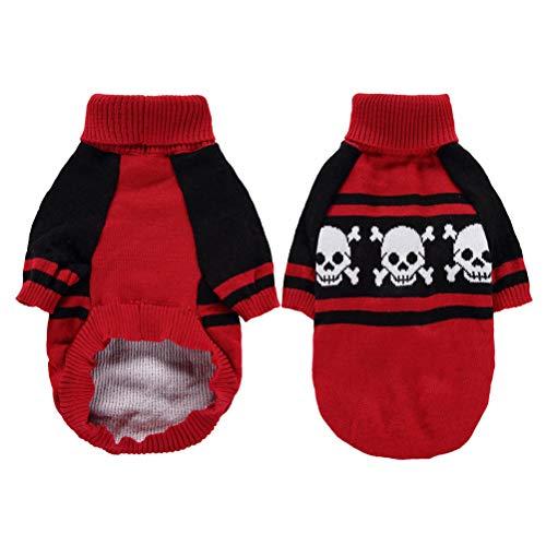 Kostüm Einfach Super Kreative - POPETPOP Lustige Haustier Hund Halloween Kleidung - Kreative Hund Halloween Kostüm mit Totenkopf - Fancy Dog Cosplay Kostüm für Halloween Party Größe L