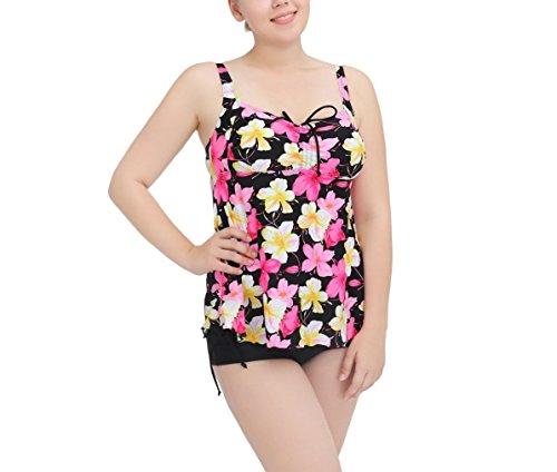 Shangrui Damen Bademode Series Blumen Schlinge Split Kleiden Badeanzug(FZWH16062) 62Gelb