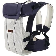 Portabebés delantero y trasero ajustables 4 posiciones de mochila mochila suave estructurado ergonómico para recién nacidos, bebés y niños pequeños Por GOMNEAR (azul oscuro)