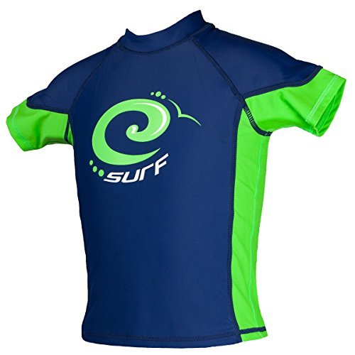 Kidz Swimmers Surf Boys Sun Protection Rash Vest UPF 50+ Estate Blue & Jasmine Green Size 13-14 Years