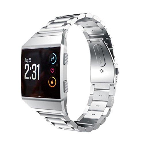 Modisches Fitbit-Ionic-Uhrenarmband, YOYOUG-Accessoire-Uhrenarmband-Metallbänder aus solidem Edelstahl für Fitbit-Ionic (silber)
