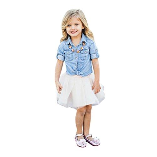 zahuihuiM Mama und Baby Mädchen Nett und elegant Denim T-Shirt Tops + Rock Kleid Familienkleidung Outfits Set (Mädchen:90)