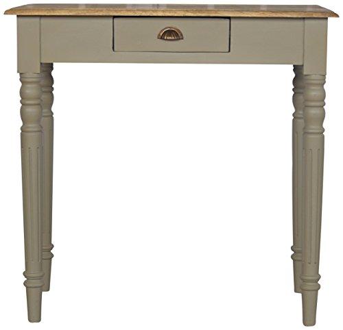 Artisan Meuble 1 tiroir Table à écrire avec Une flûte traversière Pieds, Bois, chêne Naturel/Gris Base