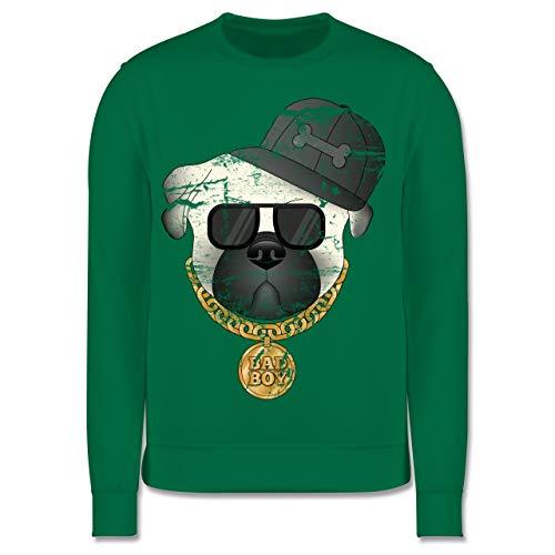 Shirtracer Tiermotive Kind - Bad Boy Mops Vintage - 7-8 Jahre (128) - Grün - JH030K - Kinder Pullover