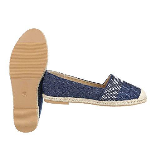 Ital-Design Slipper Damenschuhe Low-Top Blockabsatz Moderne Halbschuhe Blau HJ88-25
